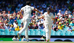 Australia's Mitchell Starc takes the wicket of England's Dawid Malan who was caught by Steve Smith in the slips during day two of the Ashes Test match at Sydney Cricket Ground.