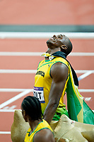 LONDON OLYMPIC GAMES 2012 - OLYMPIC STADIUM , LONDON (ENG) - 05/08/2012 - PHOTO : POOL / KMSP / DPPI<br /> ATHLETICS - MEN 100M - USAIN BOLT (JAM) / WINNER GOLD MEDAL