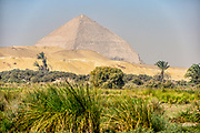 Dahshur lake with the Bent Pyramid in the background