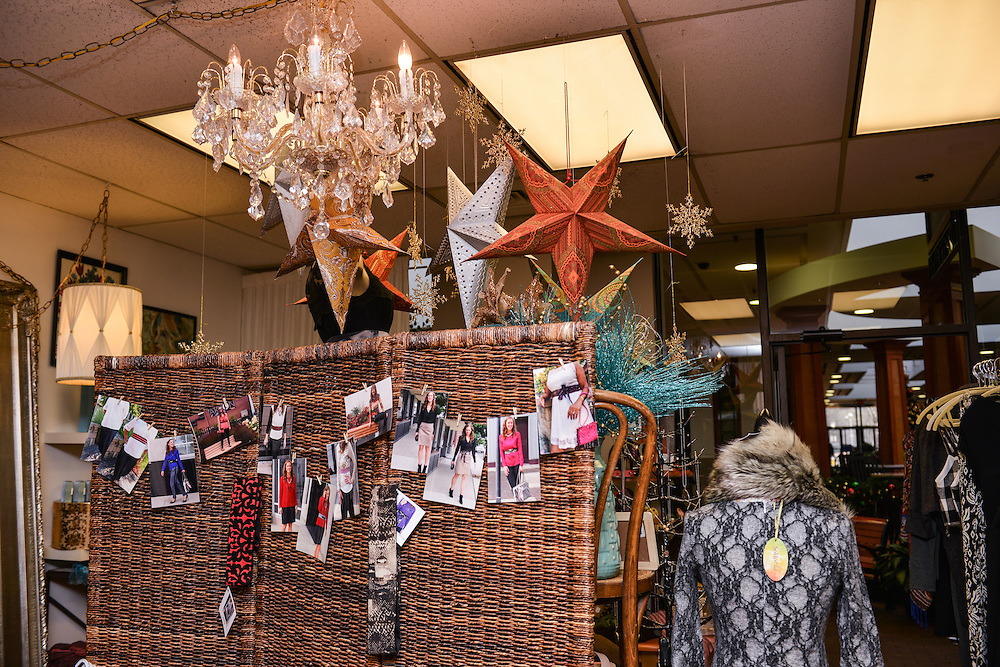Items hanging from the ceiling at NOTO Boutique.
