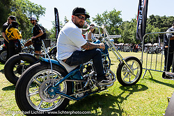 Gasoline and Coffee's bike builder Anthony Robinson's with his custom Ironhead Sportster at the Born-Free Vintage Motorcycle show at Oak Canyon Ranch, Silverado, CA, USA. Sunday, June 23, 2019. Photography ©2019 Michael Lichter.