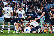 Scotland players celebrates after Chris Harris scoring during the Guinness Six Nations 2020, rugby union match between Italy and Scotland, Saturday Feb. 22, 2020,in Rome, Italy. (Federico Proietti/ESPA-Images-Image of Sport)