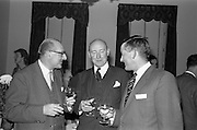 22/10/1963<br /> 10/22/1963<br /> 22 October 1963<br /> Henry Spring and Co. Ltd. reception at the Shelbourne Hotel, Dublin. At the reception to demonstrate Ultra-sonic Cleaning for the Watchmaking and Jewellery Trade were (l-r): Mr. L. Waterman, Manager, Lawrences Ltd.; Mr. J. McDowell, managing Director, McDowells Ltd. and Mr. J.H. Marshall, Director, Henry Spring and Co. Ltd..