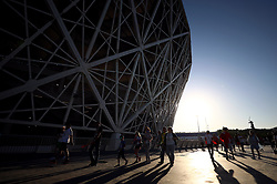 Fans arrive at the stadium ahead of the FIFA World Cup Group G match at The Volgograd Arena, Volgograd.