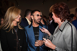 """© under license to London News Pictures. LONDON, 19/05/2011. Cilla Black, right, in conversation with Barbara Bach and Beatle Ringo Starr. Opening of the Tommy Nutter Exhibition """"Rebel on the Row"""" at the Fashion and Textile Museum, London. Photo credit should read BETTINA STRENSKE/LNP"""