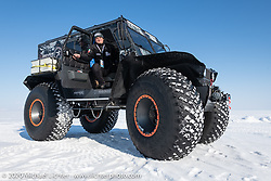 This MotorCity monster truck was used to tow their airboat to and from the start at the Baikal Mile Ice Speed Festival. Maksimiha, Siberia, Russia. Friday, February 28, 2020. Photography ©2020 Michael Lichter.