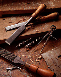 classic still life wood workers tools chisel file drill bits calipers CONCEPT STOCK PHOTOS