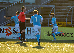 Forfar Athletic's Dylan Easton celebrates after scoring their second goal. Forfar Athletic 3 v 2 Raith Rovers, Scottish Football League Division One played 27/10/2018 at Forfar Athletic's home ground, Station Park, Forfar.