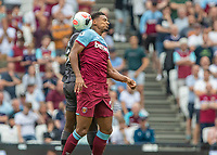 Football - 2019 / 2020 Premier League - West Ham United vs. Norwich <br /> <br /> Sebastien Haller (West Ham United) takes a crack to the back of the head as he competes for the header at the London Stadium<br /> <br /> COLORSPORT/DANIEL BEARHAM