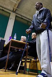 Injured Malcolm Ray Armstead of Krka during basketball match between KK Krka and KK Union Olimpija Ljubljana in Round 12 of ABA League 2013/14, on December 14, 2013 in Arena Leon Stukelj, Novo mesto, Slovenia. Photo by Vid Ponikvar / Sportida