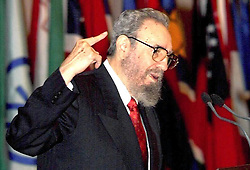 BEIJING, Feb. 19, 2008 (Xinhua) -- This file photo taken on April 12, 2000 shows Cuban leader Fidel Castro addressing the opening ceremony of the first South Summit in Havana, capital of Cuba. Fidel Castro announced on Feb. 19, 2008 that he would not aspire to or accept the positions of president of the Council of State and commander in chief, in a statement published on the website of the official Granma newspaper. (Xinhua/File) (lyi) (Credit Image: © Str/Xinhua via ZUMA Wire)