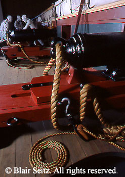 Canons inside the U.S. Brig Niagara, Erie Maritime, Erie, Erie Co., PA