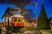 Restored trolley car in downtown Plano, Texas