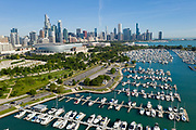 Aerial drone image of Burnham Harbor and the Chicago skyline. Photo by Mark Black