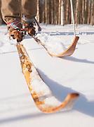 Sami skiier, Traditional clothing, Sweden, Lapland.