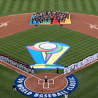 23 March 2009: Team Japan and team Korea stand during the national anthem prior to the 2009 World Baseball Classic final game at Dodger Stadium in Los Angeles, California, USA. Japan defeated Korea 5-3