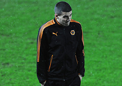 Conor Coady of Wolverhampton Wanderers inspects the pitch before kick-off - Mandatory by-line: Nizaam Jones/JMP- 17/01/2018 - FOOTBALL - Liberty Stadium- Swansea, Wales - Swansea City v Wolverhampton Wanderers - Emirates FA Cup third round proper