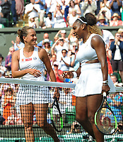 Tennis - 2019 Wimbledon Championships - Week Two, Thursday (Day Ten)<br /> <br /> Women's Singles, Semi-Final: Serena Williams (USA) vs. Barbora Strycova (CZE)<br /> <br /> Serena Williams at the net with Barbora after the match on Centre Court.<br /> <br /> COLORSPORT/ANDREW COWIE