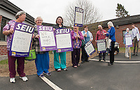 Supporters line up outside Belknap County Nursing Home prior to their contract vote on Monday afternoon.   (Karen Bobotas/for the Laconia Daily Sun)