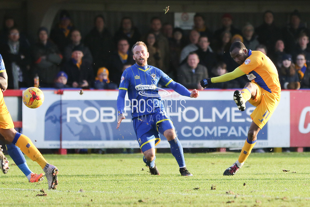 Craig Westcarr of Mansfield Town gets an effort on target  during the Sky Bet League 2 match between AFC Wimbledon and Mansfield Town at the Cherry Red Records Stadium, Kingston, England on 16 January 2016. Photo by Stuart Butcher.