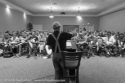 John Classen addresses the riders meeting at the Daytona Beach Resort on Thursday before the next morning start of the Motorcycle Cannonball Cross-Country Endurance Run. Daytona Beach, FL, USA. September 4, 2014.  Photography ©2014 Michael Lichter.