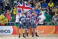 20160911 Copyright onEdition 2016©<br /> Free for editorial use image, please credit: onEdition<br /> <br /> Cyclist Jon-Allan Butterworth (C4-5) from Sutton Coldfield Cyclist Jody Cundy MBE (C4-5) from Wisbech, Cambridgeshire, Cyclist Louis Rolfe (C4 5) from Cambridge competing, wins a gold medal for ParalympicsGB at the Rio Paralympic Games 2016.<br />  <br /> ParalympicsGB is the name for the Great Britain and Northern Ireland Paralympic Team that competes at the summer and winter Paralympic Games. The Team is selected and managed by the British Paralympic Association, in conjunction with the national governing bodies, and is made up of the best sportsmen and women who compete in the 22 summer and 4 winter sports on the Paralympic Programme.<br /> <br /> For additional Images please visit: http://www.w-w-i.com/paralympicsgb_2016/<br /> <br /> For more information please contact the press office via press@paralympics.org.uk or on +44 (0) 7717 587 055<br /> <br /> If you require a higher resolution image or you have any other onEdition photographic enquiries, please contact onEdition on 0845 900 2 900 or email info@onEdition.com<br /> This image is copyright onEdition 2016©.<br /> <br /> This image has been supplied by onEdition and must be credited onEdition. The author is asserting his full Moral rights in relation to the publication of this image. Rights for onward transmission of any image or file is not granted or implied. Changing or deleting Copyright information is illegal as specified in the Copyright, Design and Patents Act 1988. If you are in any way unsure of your right to publish this image please contact onEdition on 0845 900 2 900 or email info@onEdition.com