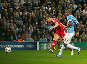 02.10.2013 Manchester, England. Bayern Munich's Toni Kroos fires in a shot  during the Group D UEFA Champions League game between, Manchester City and Bayern Munich from the Etihad Stadium.
