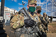 Soldiers in Washington DC  deployed to secure Biden's inuguration after the insurgency on Jan. 6, 2021.