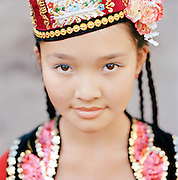 A dancer in traditional clothing in Almaty, Kazakhstan