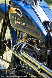 "Invited builder Matt Olsen's ""One of One"" custom Harley on Friday - for the builder-invite bike check-in for the Born-Free 6 Vintage Chopper and Classic Motorcycle Show. Silverado, CA. USA. June 27, 2014.  Photography ©2014 Michael Lichter."