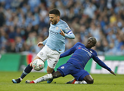 BRITAIN-LONDON-FOOTBALL-CARABAO CUP FINAL-CHELSEA VS MAN London.(190224) -- LONDON, Feb. 24, 2019  Manchester City's David Silva is fouled by Chelsea's N'Golo Kante during the Carabao Cup Final match between Chelsea and Manchester City at Wembley Stadium in London, Britain on Feb. 24, 2019. Manchester City won 4-3 on penalties after a 0-0 draw.  FOR EDITORIAL USE ONLY. NOT FOR SALE FOR MARKETING OR ADVERTISING CAMPAIGNS. NO USE WITH UNAUTHORIZED AUDIO, VIDEO, DATA, FIXTURE LISTS, CLUB/LEAGUE LOGOS OR ''LIVE'' SERVICES. ONLINE IN-MATCH USE LIMITED TO 45 IMAGES, NO VIDEO EMULATION. NO USE IN BETTING, GAMES OR SINGLE CLUB/LEAGUE/PLAYER PUBLICATIONS. (Credit Image: © Matthew Impey/Xinhua via ZUMA Wire)