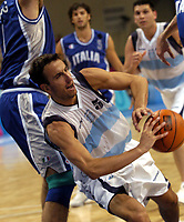 29/08/04 - ATHENS  - GREECE -  - BASKETBALL SEMIFINAL MATCH   - Indoor Olympic Stadium - <br />ARGENTINA win over ITALY and win the GOLD MEDAL<br />Here EMANUEL GINOBILI - <br />© Gabriel Piko / Argenpress.com / Piko-Press