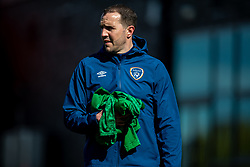 WREXHAM, WALES - Friday, March 26, 2021: Republic of Ireland's Under-21 assistant coach John O'Shea during the pre-match warm-up before an Under-21 international friendly match between Wales and Republic of Ireland at Colliers Park. Republic of Ireland won 2-1. (Pic by David Rawcliffe/Propaganda)