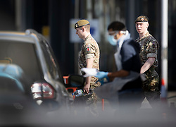 © Licensed to London News Pictures. 21/04/2020. London, UK. Military personnel are seen at a coronavirus testing centre in the car park of a north London Ikea. The public have been told they can only leave their homes when absolutely essential, in an attempt to fight the spread of the coronavirus COVID-19 disease. Photo credit: Peter Macdiarmid/LNP