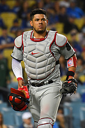 May 28, 2018 - Los Angeles, CA, U.S. - LOS ANGELES, CA - MAY 28: Philadelphia Phillies catcher Jorge Alfaro (38) looks on during a MLB game between the Philadelphia Phillies and the Los Angeles Dodgers on Memorial Day, May 28, 2018 at Dodger Stadium in Los Angeles, CA. (Photo by Brian Rothmuller/Icon Sportswire) (Credit Image: © Brian Rothmuller/Icon SMI via ZUMA Press)