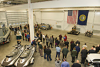 Commissioner John Barthelmes addresses the crowd gathered during the David T. Barrett Marine Patrol Headquarters dedication ceremony held on Tuesday morning.   (Karen Bobotas/for the Laconia Daily Sun)
