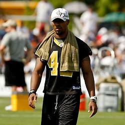 August 1, 2010; Metairie, LA, USA; New Orleans Saints safety Darren Sharper (42) watches during a training camp practice at the New Orleans Saints practice facility. Mandatory Credit: Derick E. Hingle
