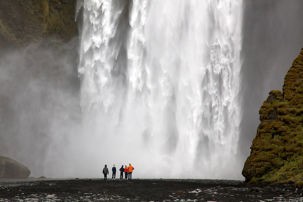 Thunderous view of Skógafoss on the south coast of Iceland. A fast camera shutter shows the roaring power of the falls.