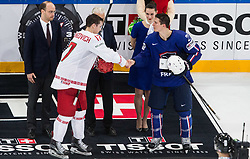 Best players Yegor Sharangovich of Belarus and Antoine Roussel of France during the 2017 IIHF Men's World Championship group B Ice hockey match between National Teams of France and Belarus, on May 12, 2017 in AccorHotels Arena in Paris, France. Photo by Vid Ponikvar / Sportida