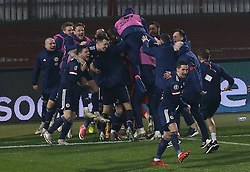 File photo dated 12-11-2020 of Scotland's David Marshall celebrates saving from Serbia's Aleksandar Mitrovic to win the penalty shoot and qualifying for the Euro2020 finals. Issue date: Tuesday June 1, 2021.