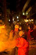 People burning straw at traditional festival, Nozawaonsen, Japan.
