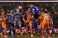 Sheffield Wednesday defender Tom Lees (15) heads clear during the The FA Cup 3rd round replay match between Luton Town and Sheffield Wednesday at Kenilworth Road, Luton, England on 15 January 2019.