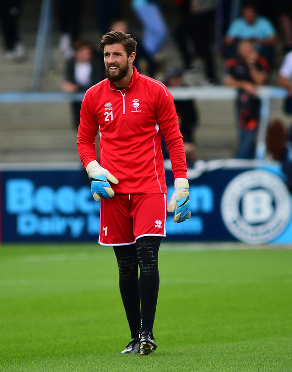 Lincoln City's Josh Vickers during the pre-match warm-up <br /> <br /> Photographer Andrew Vaughan/CameraSport<br /> <br /> The EFL Sky Bet League Two - Wycombe Wanderers v Lincoln City - Saturday 5th August 2017 - Adams Park - Wycombe<br /> <br /> World Copyright © 2017 CameraSport. All rights reserved. 43 Linden Ave. Countesthorpe. Leicester. England. LE8 5PG - Tel: +44 (0) 116 277 4147 - admin@camerasport.com - www.camerasport.com