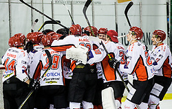 Players of Jesenice celebrate after winning during ice hockey match between  HK SZ Olimpija and HDD SIJ Acroni Jesenice in 23rd Round of AHL - Alps Hockey League 2017/18, on December 16, 2017 in Hala Tivoli, Ljubljana, Slovenia. Photo by Vid Ponikvar / Sportida