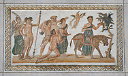 Picture of a Roman mosaics design depicting Dionysus riding a lion; from the ancient Roman city of Thysdrus. 2nd century AD House of the Dionysus Proccession. El Djem Archaeological Museum; El Djem; Tunisia. .<br /> <br /> If you prefer to buy from our ALAMY PHOTO LIBRARY  Collection visit : https://www.alamy.com/portfolio/paul-williams-funkystock/roman-mosaic.html  . Type -   El Djem   - into the LOWER SEARCH WITHIN GALLERY box. Refine search by adding background colour, place, museum etc<br /> <br /> Visit our ROMAN MOSAIC PHOTO COLLECTIONS for more photos to download  as wall art prints https://funkystock.photoshelter.com/gallery-collection/Roman-Mosaics-Art-Pictures-Images/C0000LcfNel7FpLI