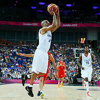 08 August 2012: France Tony Parker takes a jumpshot during 66-59 Team Spain victory over Team France, during the men's basketball quarter-finals, at the 02 Arena, in London, Great Britain.