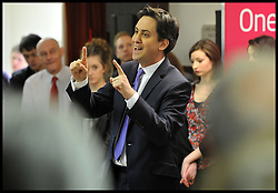 Ed Miliband during Labour's campaign launch for the 2013 elections in Ipswich, Ipswich, Suffolk, Monday 8 April, 2013. Photo By Andrew Parsons / i-lmages..