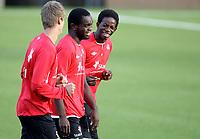 Fotball , 9. september 2013 , trening Norge U21 , Norway U21 , training<br /> <br /> Christian Landu Landu - Viking FK <br /> Mushaga Bakenga - Club Brugge<br /> Markus Henriksen - AZ Alkmaar