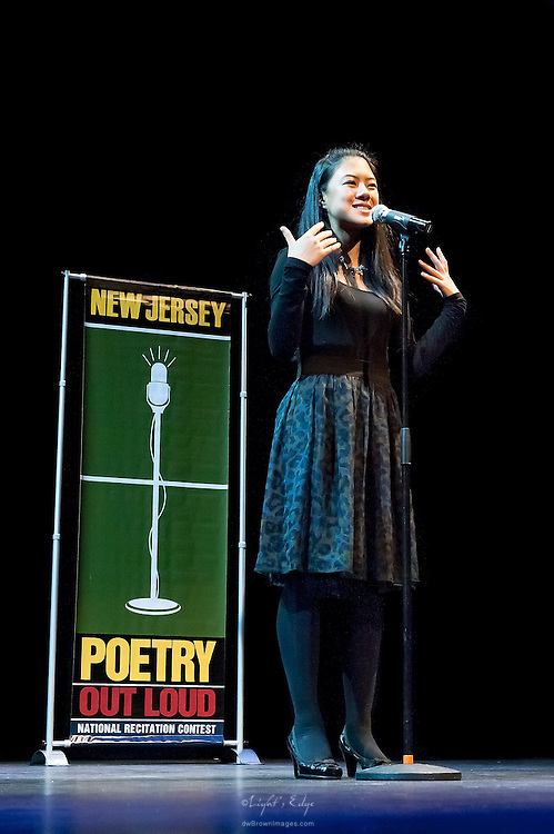 Christina Qiu, a contestant in The  Poetry Out Loud, Regional 5,  competition at SOPAC.