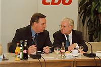 09.01.1999, Deutschland/Königswinter:<br /> Volker Rühe, CDU Bundesvorstand, und Rudolf Seiters, CDU Bundestagsvizepräsident, zu Beginn der Klausurtagung des CDU-Bundesvorstandes, Arbeitnehmerzentrum, Königswinter<br /> IMAGE: 19990108-02/01-11<br /> KEYWORDS: Volker Ruehe